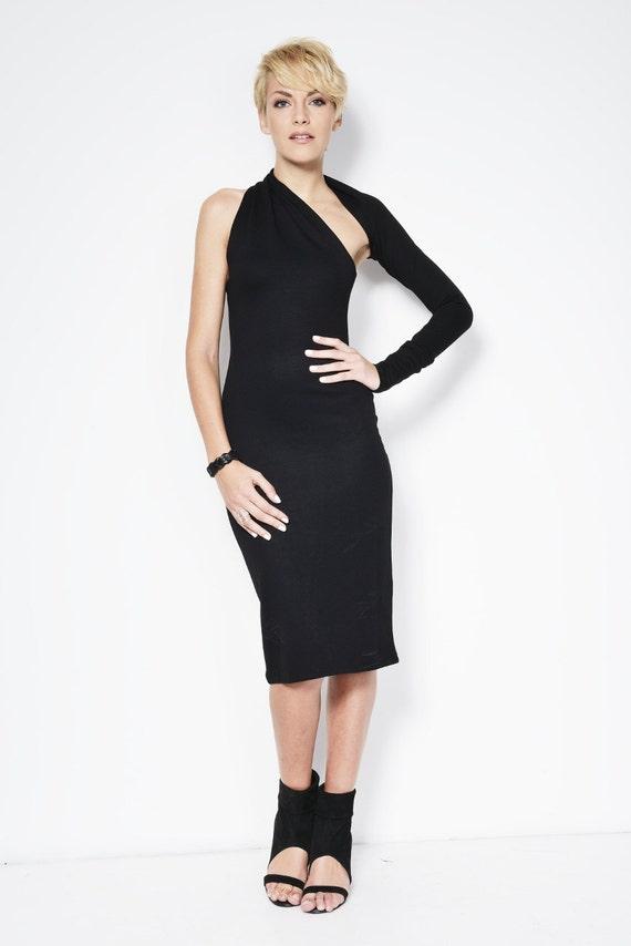 Black One Shoulder Dress / Pencil Dress / Party Dress / Cocktail Dress / Black Dress / marcellamoda Signature Design - MD003