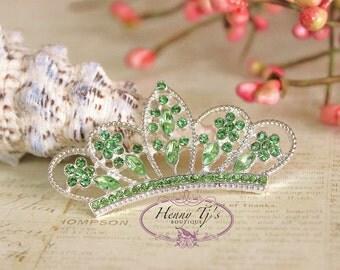 4 pcs LIME GREEN Crystals Tiara Crowned Princess  Rhinestone Buttons, Crystal Tiara Bow Embellishment, Bridal Wedding Cake Decorations