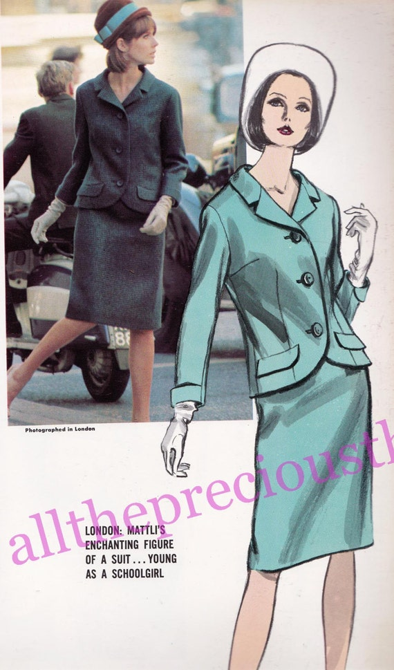 60s Jo Mattli Skirt Suit Vogue Couturier Design Sewing Pattern 1423 Size 14 Bust 34