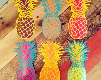 Beautiful Pineapple Stickers - surf and island inspired  - multicolored - vinyl wall art decals sticker by 3rdaveshore 133
