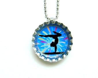 Bottle Cap Necklace - Gymnastics Fireworks Beam