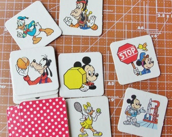 Vintage Mickey Mouse Memory Game Cardboard Game pieces Set of 8