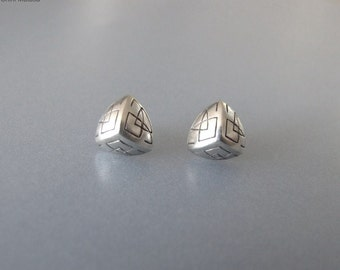 Celtic Stud Earrings - silver earrings , stud earrings , triangle earrings , pyramid earrings , celtic earrings , silver jewelry