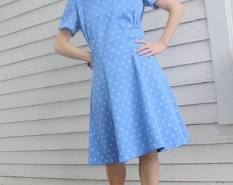 Vintage 60s Blue Dress Mod Short Sleeve Print M L