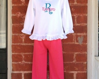 Girls' Personalized Hot Pink and Turquoise Shirt or Bodysuit and Ruffle Pants Outfit