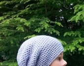 womens hat, womans crochet summer slouch hat, girls crochet slouch hat, light grey, youth adult 4250