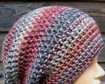 womens crocheted slouchie beanie ladies crochet slouch hat girls crochet hat volcano multi colored  9226