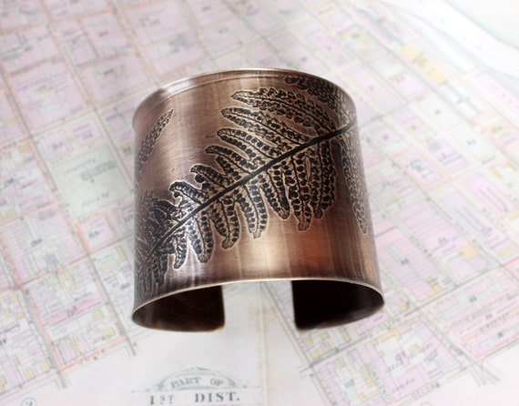 Cuff Bracelet with Fern Impression Embossed with Brass