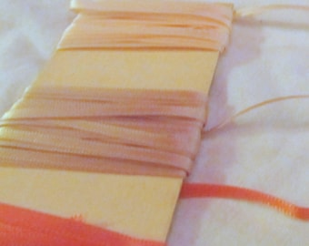 NOVELTY RIBBON TRIM -coral peach, ecru, pale apricot-- over 10 yards total