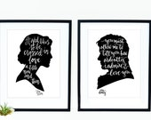 Digital Download - Jane Austen Facing Cameos Print Set - Jane Austen and Mr. Darcy Quote Calligraphy Silhouette Cameo Print