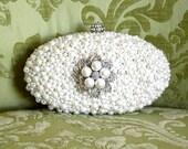 Ivory Pearl Clutch, Bridal Clutch, Bridal Minaudiere, Rhinestone Clutch, Vintage Style Wedding Clutch Purse, Bridal Purse