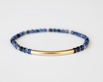 Lapis Blue Beaded Bar Bracelet - Gold Filled or Sterling Silver - Nuelle