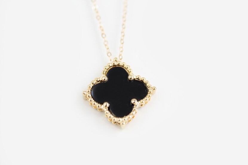 black clover necklace gold onni by junghwa on etsy
