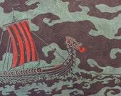 Viking Ship on Blue, Black or White - Original Linocut Print