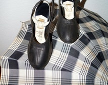 Vintage 40s 50s Black Rubber Galoshes Over Shoes with Bow Detail / 1950s Over Shoes for Pin Up Heels Size 6 or 7