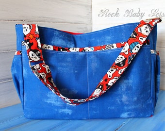 Pirates and Cobalt Blue Painter's Canvas Large Quick Trip Diaper Bag 10 pockets Adjustable Strap and red canvas lining