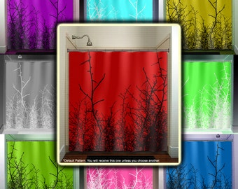 Willow Twig Grass Tree Branch Red Shower Curtain Fabric Extra Long Window Panel Kids