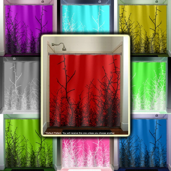 Willow Twig Grass Tree Branch Red Shower Curtain Fabric Extra