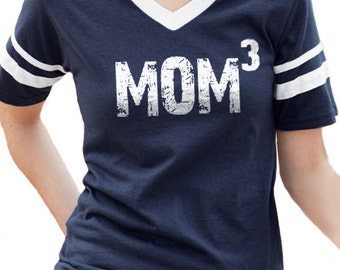 Mom Shirt MOM 3 Womens T shirt Mothers Day Gift Valentine's Gift Wife Gift Mom Tee V-Neck Jersey with Striped Sleeves New Mom