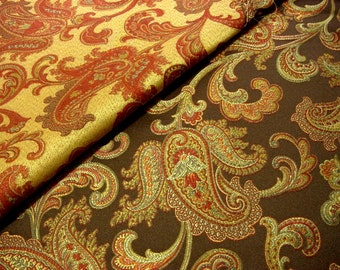 Gorgeous Vintage Paisley Upholstery Fabric -Reversible Jacobean Decorator Jacquard Red, Mustard Gold, Blue,  Brown