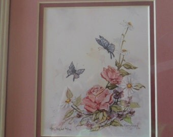 Vintage Framed Watercolor Signed and Dated Print by Nancy Balycat