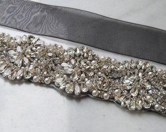 Rhinestone & Pearl Sash, Black Organza Wedding Belt, Black Crystal Bridal Sash, Organza Rhinestone Bridal Sash- MOXY