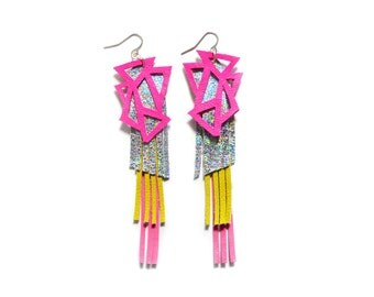 Leather Earrings, Hologram Triangle Earrings, Geometric Earrings, Hot Pink and Green Leather Jewelry