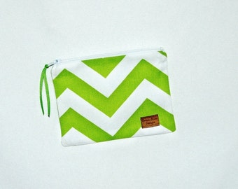 Snack Size Bag -Lime and White Chevron Stripe - Zippered Bag - Zipper Closure