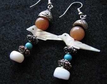 Pearl earrings dangle | silver dangle | turquoise | shell | bird | red aventurine