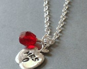 Personalized Handstamped For The Teacher Apple Charm Necklace