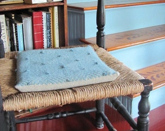 Rustic Cabin Country Home Decor, Primitive Farmhouse Decor Chair Seat Cushion Pad Thin Pillow Back Support, Colonial Blue Woven Wool Cushion