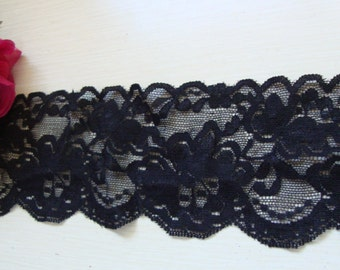 """15 yards of 3 1/2"""" width ( 89 mm ) shimmery floral black stretch lace trim for lingerie headband scalloped lace ST"""