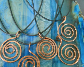 set of 5 Spiral Copper Pendants