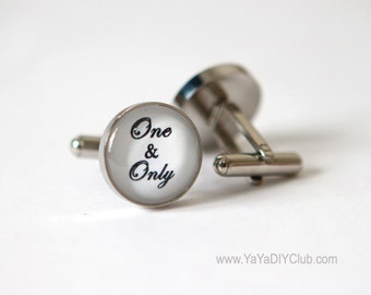 One and Only Wedding Gift, Custom Cufflinks for Groom, Anniversary gift for him, Groom gift from bride - Custom Cufflinks Custom Color