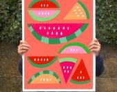 "Summer Fruit Poster print Watermelon Paradise / Red  20""x27"" - archival fine art giclée print"