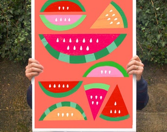 "Summer Fruit Poster print Watermelon Paradise / Red  20""x27"" - archival fine art giclée print"