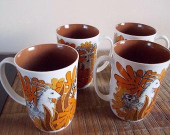 Vintage Fitz and Floyd Jungle Safari Mugs Modern Orange Set of 4