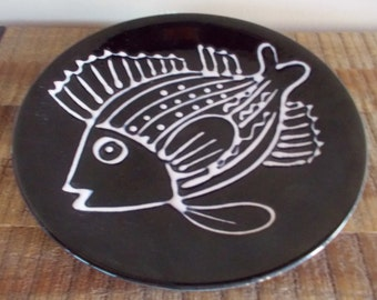 Vintage White on Black Slip Glaze Decorative Fish Plate