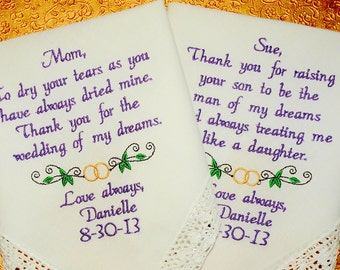 WEDDING GIFT, MOM, Wedding Rings, Embroidered Wedding Handkerchiefs, Wedding Gift, Mother of the Bride, Mother In Law,  by Canyon Embroidery