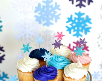 Frozen Snowflake cupcake toppers, 12 picks in blues, purple and pink