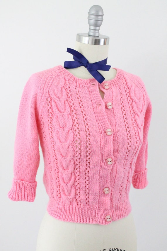50s cardigan - 1950s bubble gum pink cropped sweater