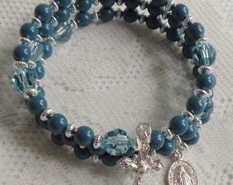 Five Decade Catholic Rosary Bracelet - Lapis Swarovski Pearls and Aquamarine Swarovski Crystals with Small Silver Miraculous Medal