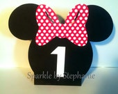 Minnie Mouse Centerpiece - Balloon Holder - Set of 2+ - Customized with Childs Age