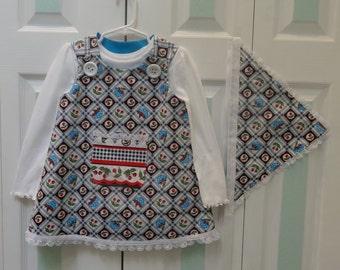 TODDLER DRESS SET: Designer Set, white polo, scarf set, 4 to 5 year old, black and white cherry print cotton, lace trim