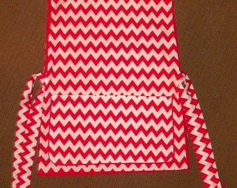 Kitchen Cobbler Apron Smock Red and White Chevrons