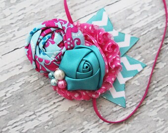 The Sweet Goes On- rosette, chiffon and satin rose in  aqua and hot pink with chevron ribbon