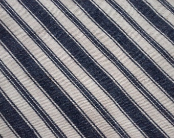 Antique Mattress Ticking FABRIC -Early Indigo Blue and White Feather Pillow Striped Tick- Farmhouse Fresh