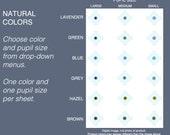 Choice: One Size Medium Shades 5mm, 6mm, 7mm flat eyeballs, Natural Human Eye Colors