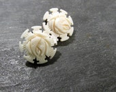 Carved Bone Rose Earrings VINTAGE Carved Bone Faux Ivory Heavily Carved Rose Clip Earrings Carved Bone Flowers Vintage Jewelry (L25)