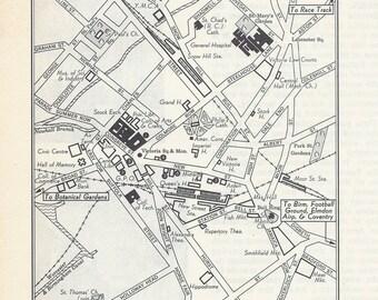 Birmingham England Map, City Map, Street Map, 1950s, Europe, Black and White, Retro Map Decor, City Street Grid, Historic Map